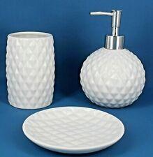 G Decor Designer 3-Piece White Ceramic Bath Accessory Set