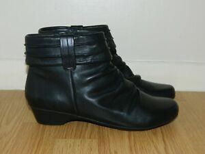Clarks Women's Matron Ella Black Leather Ankle Boots UK 6.5 E Fit EU 40 RRP £69