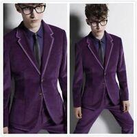 3 Pics Fashion Purple Velvet Men's Tuxedos Suits Custom 40 42 44 46 48 Slim Fit