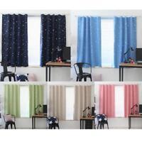 Full Blackout Shading Stars Balcony Curtains Hook Grommet Purdah Panels Divider