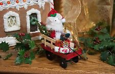 Byers Choice Mouse! Cute Felt Santa Mouse in Red Wagon w/Gifts New Design 2017