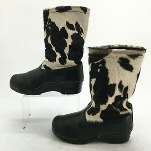 Sanita Womens 37 Cow Print Mid Calf Boots Black White Leather Haircalf Casual