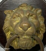 Vintage Medieval LION HEAD Brass Metal Wood Plaque Door Knocker Ring Wall Figure