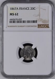 Mazuma *N310 NGC France 1867A 20C Napoleon III Silver MS62 Cert No.4465670-037