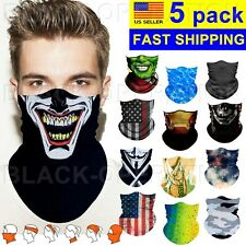 Balaclava Face Mask 5 pack Bandana Scarf Neck Gaiter Reusable Uv Lot Fishing