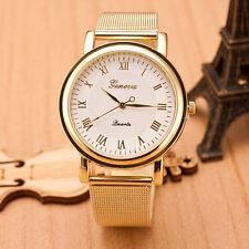 New Gold Classic Womens Geneva Quartz Stainless Steel Wrist Watch White