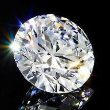 Round 10 mm Fancy 4.3 ct VVS Natural White Sapphire Brilliant Diamond Solitaire