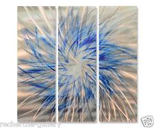 Metal Wall Art Sculpture Blue Pinwheel by Ash Carl Contemporary Home Decor