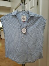 So White Blue Striped Sleeveless Shirt Women's Size L New