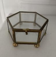 Vintage Unique Trinket Box Glass & Brass Mirrored Bottom Gift