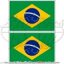 "BRAZIL Brazilian Flag Brasilian Vinyl Bumper Decals Stickers 3"" (75mm) x2"