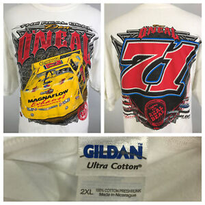 THE REAL DEAL DON O'NEAL #71 RACING ALL OVER PRINT CAR WHITE T SHIRT SZ 2XL