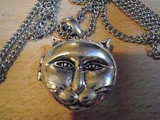 Hermosa Placa de Plata 925 Big Cat cara Collar De Plata 69 Cm Collar y medallón