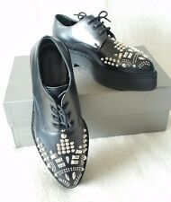 NEW Alexander McQueen Studded Creeper Lace Up Platform Oxfords Shoes 39.5/9.5