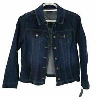 Charter Club Womens Jean Jacket Blue Button Stretch Fringe Denim Trucker M New