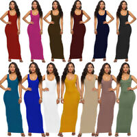 Women Sleeveless Tank Tops Holiday Long Dress Casual Party Bodycon Maxi Dresses
