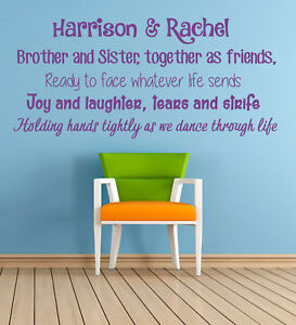 Personalised Brother & Sister poem, Wall Sticker Mural Decal. Children, Playroom