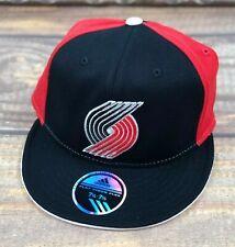 Portland Trailblazers NBA Flat Brim Fitted Stretch Hat Adidas Red, Black L/XL