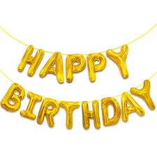 Happy Birthday Aluminum Foil Banner Balloons for Party Supplies Decorations Gold