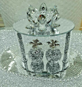 Stunning Crushed Diamond Crystal Filled Pineapple Tealight Candle Holder