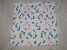 """Vtg Medline Baby Hospital Receiving Flannel Blanket Pastel Feet Blocks Dot 35"""""""
