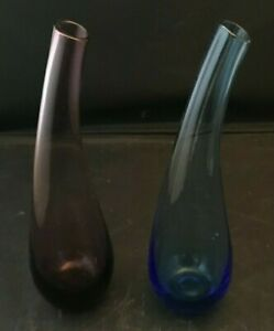 IKEA GLASS TEARDROP BUD VASES HANDMADE SET OF 2