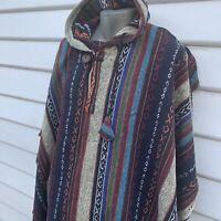 Men's Hooded Poncho Mexican Coat Unbrushed Cape Blue Aqua White Cotton Hood #06
