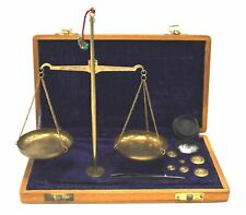 Vintage Style Apothecary Scales BRASS BALANCE With Weights In Wooden Box  - H09