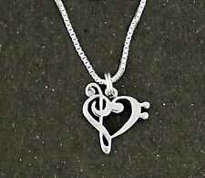 """Music Note Heart Pendant Necklace Sterling Silver 18"""" Chain Bass Clef"""