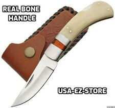 🔥 Real Bone Handle Lockback Folding Pocket Knife Stainless Blade Leather Sheath