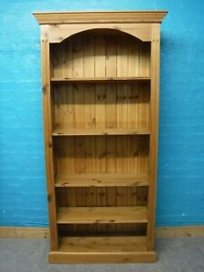 SOLID WOOD CHUNKY RUSTIC BOOKCASE DISPLAY CABINET H185 W90cm - see our shop