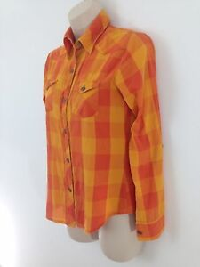 Delias Womens S Orange Indian Cotton Madras Plaid Hiking Camp Button Front Shirt
