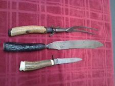 VINTAGE CARVING KNIFE Set of 3  ANTLER Bone Handle Putnam cutlery