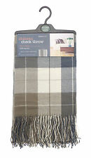 Country Club Acrylic Checked Throw Chateau 130 x 190cm Brown Cover Blanket Sofa