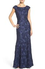 XSCAPE EMBROIDERED LACE MERMAID NAVY GOWN DRESS sz 8P