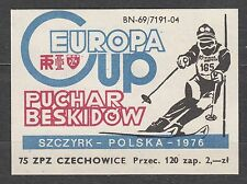 "POLAND 1975 Matchbox Label - Cat.G#364 Europa Cup skiing - the ""Cup of Beskydy"""