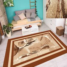Teppich Carpet Top Modern Abstraktes Design mit Umrandung Braun Beige 4 Größen