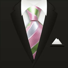 New Classic Striped WOVEN JACQUARD Silk Men's Suits Tie Necktie Pink Green M075