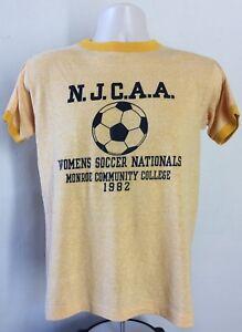 Vtg 1982 Womens Soccer Ringer T-Shirt Yellow S/M 80s Monroe Community College