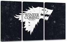 120x80cm Lein-Wand-Bild: Game of Thrones Winter is coming weiss und schwarzer Hi
