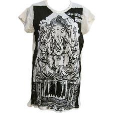 Hippie Yoga Ganesh SURE Crinkled Cotton Short-Sleeve T-Shirt Blouse #153