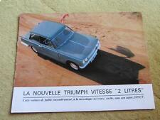 TRIUMPH VITESSE 2 LITRES 1966, catalogue dépliant, prospekt, catalog, no copy