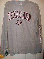 Texas A & M A&M Aggies Gray Arm Design Long Sleeve Shirt Mens Size Xl Nwt