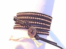 AUTHENTIC CHAN LUU ROSE GOLD Faceted Nuggets BLACK LEATHER 5X Wrap Bracelet CL8B