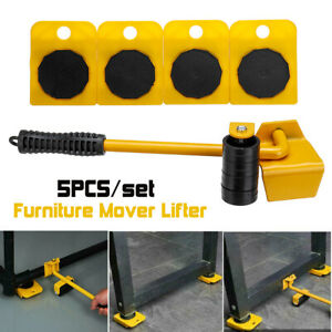 5Pcs Portable Furniture Transport Hand Tool 200KG Lifter Heavy Mover Rollers