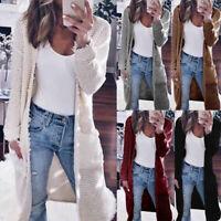 Women Long Sleeve Knitted Baggy Sweater Oversized Cardigan Knitwear Outwear Tops
