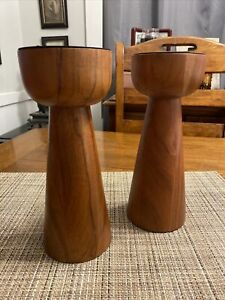 "Crate & Barrel - Set of 2 Owen Pillar Candle Holder Wood Stands New 9"" Tall"