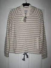 Lucky Brand Womens Sweatshirt Hoodie Sz L Navy Blue Striped Lace Trim