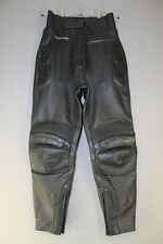 FRANK THOMAS BLACK LEATHER BIKER TROUSERS: WAIST 28 INCHES/INSIDE LEG 29 INCHES