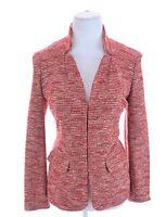 Talbots Tweed Sweater Knit Blazer Jacket Pocket Red Women Sz 12P 12 Petite Large